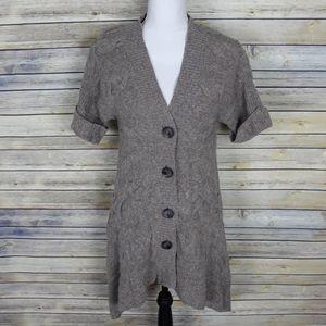 Moth Anthropologie Short Sleeve Wool Cardigan